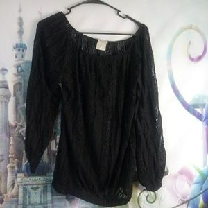 Black lacy poof! Shirt